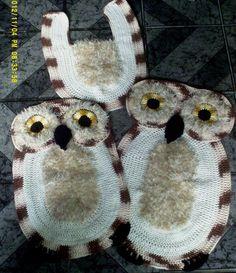 lene crochê: jogo de banheiro coruja