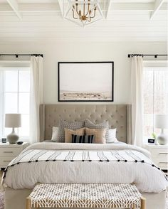 WHITE SANDS - Juniper Print Shop Beautifying a new sleeping quarters is a real individual Modern Farmhouse Bedroom, Bedroom Makeover, Home Bedroom, White Furniture, Cheap Home Decor, Home Decor, White Master Bedroom, Bedroom Inspirations, Modern Bedroom