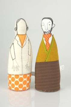 Lovers  - pair of parents or Grandparents  In shades of Yellow mustard, orange and brown - handmade fabric dolls. $74.00, via Etsy.