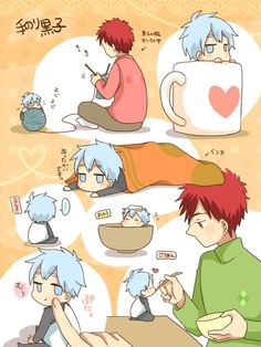 Kagami & chibi!Kuroko (Kuroko no Basuke) ~ care guide | IT RLLY BOTHERS ME THAT THERE ARE TWO RED PLAYERS WITH ONLY A SINGLE EYE'S DIFFERENCE EXCUSE YOU KAGAMI IS THE ONLY ReD