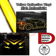 "Yellow Reflective Vinyl Adhesive Cutter Sign Hight Reflectivity 24"" x 10 FT"
