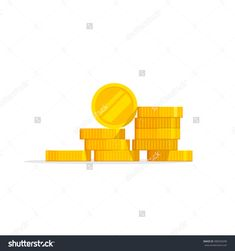 Coins Stack Vector Illustration, Coins Icon Flat, Coins Pile, Coins Money, One Golden Coin Standing On Stacked Gold Coins Modern Design Isolated On White Background - 388205698 : Shutterstock