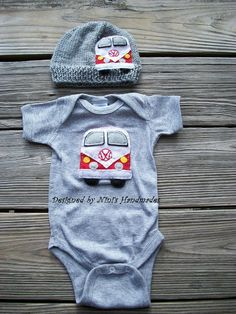 Knit VW BUS Baby Hat,   Onesie, Bodysuit Set, Vw Beetle, 70's style Vw applique Hat , Childrens clothing, Red VW Bus, Flower power, Heather. $39.00, via Etsy.