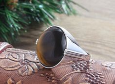 925K Sterling Silver Gemstone Man Ring With Natural Tiger's Eye Stone(All Sizes)