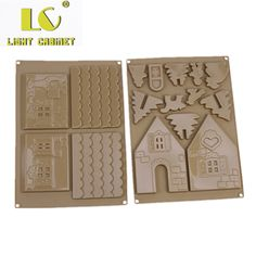LC 3d Christmas house gingerbread chocolate diy mold set 2 pieces silicone baking mold set sugar biscuits