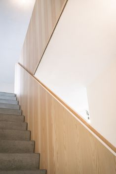 Gallery of House CM / Bultynck Kindt architecten - 11 Staircase Handrail, Wood Railing, Wood Stairs, House Stairs, Stair Railing, Staircase Design, Stair Elevator, Timber Stair, Plywood Design