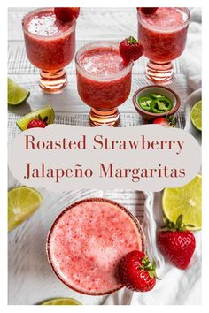 The best Roasted Strawberry Jalapeño Margaritas! This Frozen strawberry margaritas make an awesome spicy tequila cocktail using fresh strawberries. The perfect easy, fun, & simple summer pitcher margarita to serve to a crowd. So refreshing, perfectly spicy, with tips on how to roast strawberries too! #sgtoeats #strawberryjalapenomargarita #frozenmargarita #strawberrymargarita
