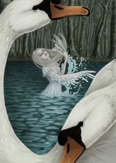 ODETTE'S TRANSFORMATION - SWAN LAKE - BY KESHI-SHIRO - Swan maidens were a common theme in fairy tales throughout Europe