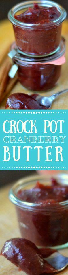 Crock Pot Cranberry Butter is an impossibly silky tangy fruit butter that is made right in the crock pot you'll want to slather it on toast scones biscuits muffins turkey sandwiches and so much more! Jam Recipes, Canning Recipes, Fruit Recipes, Recipies, Cranberry Jam, Cranberry Recipes, Thanksgiving Recipes, Holiday Recipes, Thanksgiving Fruit