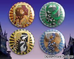Harry Potter Hogwarts House Crest Inspired Badge Button Set