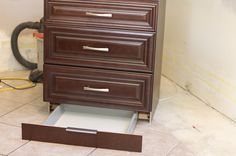 IKEA kitchen cabinet with toe kick drawer