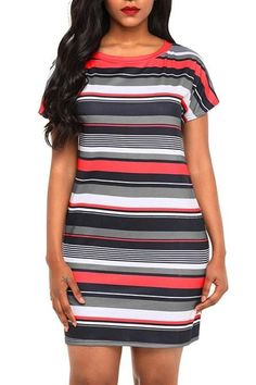 fb529e1cbe00 Chic Red Black Multi-striped Short Sleeve Casual Shirt Dress MB220286-22 –  ChicLike.com