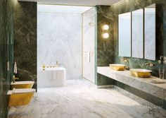 Catalano Gold and Silver Collection. right place for this elegant look. Made in Italy. Exclusive and rare to see such classic pieces. Modern Bathroom, Master Bathroom, Duravit, Bathroom Fixtures, Interior Design Living Room, New Homes, House Design, Inspiration, Home Decor