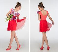 Blushed tulip flower- short sleeve skater dress