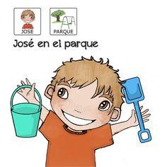 Cuento con pictogramas donde José aprende en el parque. Descubre más cuentos en www.aprendicesvisuales.com