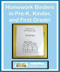 Homework Binders for Pre-K, Kindergarten, and First Grade