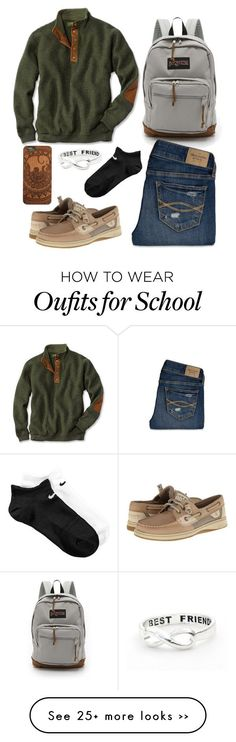 """school outfit"" by countrygirl1898 on Polyvore featuring moda, JanSport, Abercrombie & Fitch, Sperry Top-Sider e NIKE"