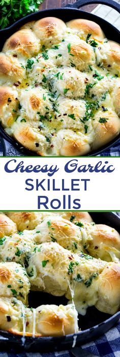 Cheesy Garlic Skillet Rolls are stuffed with mozzarella cheese. Easy to make! #bread #rolls #cheese #garlic