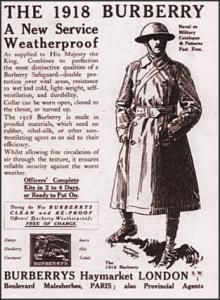 World War I trench coat was a very important innovation for men's clothing. Men wore them in the trenchs during the war, which switched into all of society wearing them. It was a long weather proof coat.