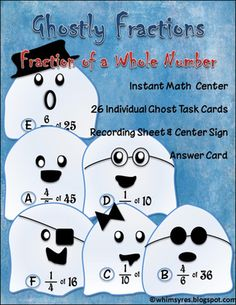 Ghost Fractions from Whimsy Resources on TeachersNotebook.com -  - Instant Math Center Find Fractional Parts of Whole Numbers