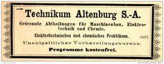 Original-Werbung/ Anzeige 1897 - TECHNIKUM ALTENBURG - ca. 100 x 35 mm