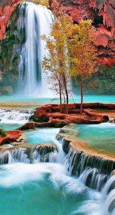 Les chutes d'Havasu sont situées dans le Grand Canyon en Arizona, USA.