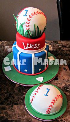 Baby's Baseball Cake W/ Matching Smash Happy Birthday little slugger! Baseball Birthday Cakes, Baby 1st Birthday, 1st Birthday Parties, Birthday Ideas, Baseball Party, Baseball Cakes, Happy Birthday, Basketball Birthday, Sports Birthday