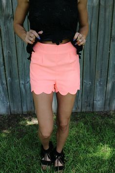 Scalloped Coral Shorts