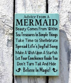 Beach Decor - Beach Sign - Beach House Wall Art - Nautical Decor - Mermaid Sign - Advice From A Mermaid - Rustic Shabby Beach Plaque Gift