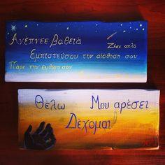 Handmade creations on wood