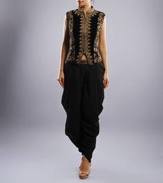 Black & Gold Dhoti Saree