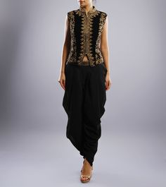 Black & Gold Dhoti Saree