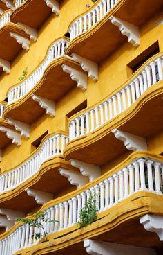 Balconies of one of de buildings facing onto de Plaza de Los Coches in Cartagena, Atlantico_ North Columbia