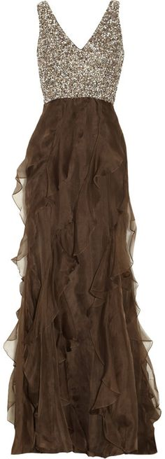 Badgley Mischka Sequined Silk Chiffon Gown in Brown (chocolate) | Lyst