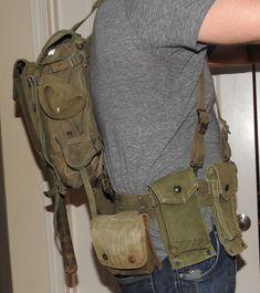 WWII Era USMC M1941 OD Green Combat Pack - Complete w/ Accessories, Shovel More   eBay