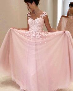 Cap Sleeves Prom Dresses,Lace Appliques Evening Dress,Sheer Neck https://bellanblue.com