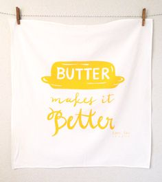 Butter Makes it Better large yellow white screen by littlelow, $16.00