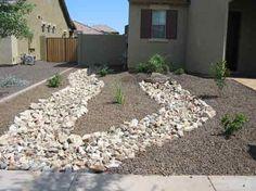 Arizona desert landscape design with riverbeds, rock, desert plants