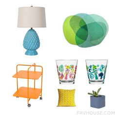 Must Have Decorating Mix And Match Featuring Pineapple Style Table Lamp In Turquoise, Sonya Winner Jellybean Rug - Lime - 100X120Cm, Fermob Alfred - Rolling Small Table, Dot & Bo Synergetic Medium Drinking Glasses - Set Of 4, Dot & Bo Synergetic Medium Drinking Glasses - Set Of 4, Yellow Decorative Designer Throw Pillow Cushion Cover Embroidered Trellis Silk Pillow Cases Modern Y, Blue Moon Planter. Find Out Where To Buy The Things You Love In This Home Decor Idea From July 2016.