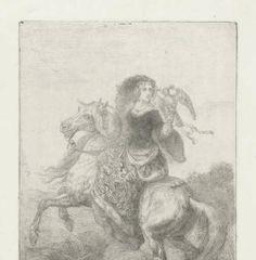 """""""Dame te paard met valk op de hand"""", Theodoor Schaepkens, 1825-1883, Rijksmuseum"""
