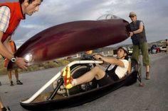 Sam Whittingham on a recumbent bike.