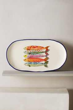 Sardina Small Platter by Anthropologie in Assorted, Serveware Pottery Plates, Ceramic Plates, Ceramic Painting, Ceramic Art, Serveware, Tableware, Kitchenware, Keramik Design, Pottery Painting Designs