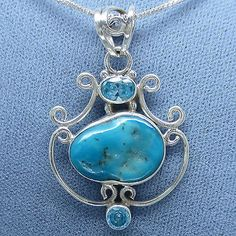 Arizona Turquoise and Blue Topaz Filigree Necklace - Free Shipping