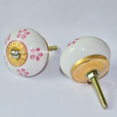 Floral Painted White Ceramic Drawer Dresser Knobs, Set of 2 on RoyalFurnish.com, $3.97