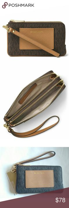 New! MICHAEL KORS Double Zipper Wristlet w/pocket MICHAEL Michael Kors Bedford Medium Double Zip Wristlet with Pocket  This stylish MICHAEL Michael Kors Medium Double Zipper Bedford Wristlet is both stylish and functional.  Color: Brown Peanut Brand New With Tags  Allover MK logo print Two top zip closures Exterior: 1 slip pocket Interior: 2 slip pockets 6.5 inch Width, 4 inch Height, 1.25 inch Depth 7.25 inch removable wrist strap Material: PVC; lining: polyester Michael Kors Bags Clutches…