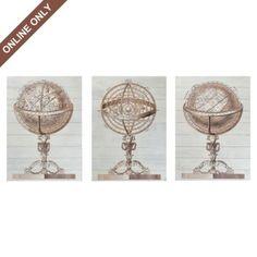 Wood Globe Wall Art, Set of 3