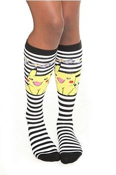 Buy Pokemon Pikachu Stripe Knee-High Socks at Wish - Shopping Made Fun First 150 Pokemon, Striped Knee High Socks, Love Fashion, Fashion Beauty, Nerd Fashion, Sock Shoes, Swagg, Hot Topic, Pikachu