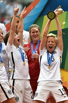 Megan Rapinoe #15 of the United States celebrates after winning the FIFA Women's World Cup Canada 2015 5-2 against Japan at BC Place Stadium on July 5, 2015 in Vancouver, Canada. (Photo by Rich Lam/Getty Images)
