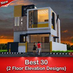 Best 30 Front Elevation designs For 2 Floor House Indian House Exterior Design, Modern Exterior House Designs, Modern House Facades, Modern House Design, House Outside Design, House Front Design, Small House Design, Front Elevation Designs, House Elevation