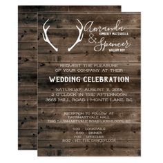 Shop Rustic Wedding Invite - Dark Barnwood and Antler created by IYHTVDesigns. Personalize it with photos & text or purchase as is! Country Wedding Gifts, Country Wedding Invitations, Rustic Invitations, Wedding Invitation Cards, Rustic Wedding, Invitation Card Design, Invite, Deer Antler Wedding, Rustic Gifts